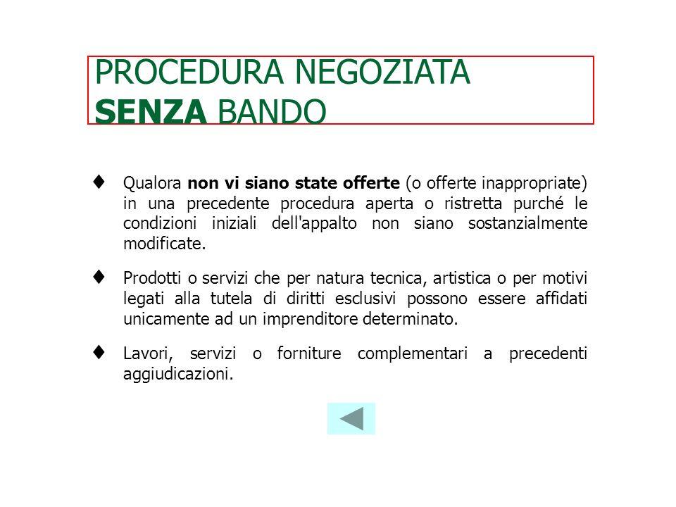 PROCEDURA NEGOZIATA SENZA BANDO
