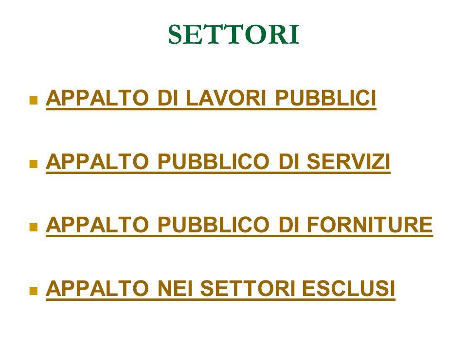 SETTORI APPALTO DI LAVORI PUBBLICI APPALTO PUBBLICO DI SERVIZI