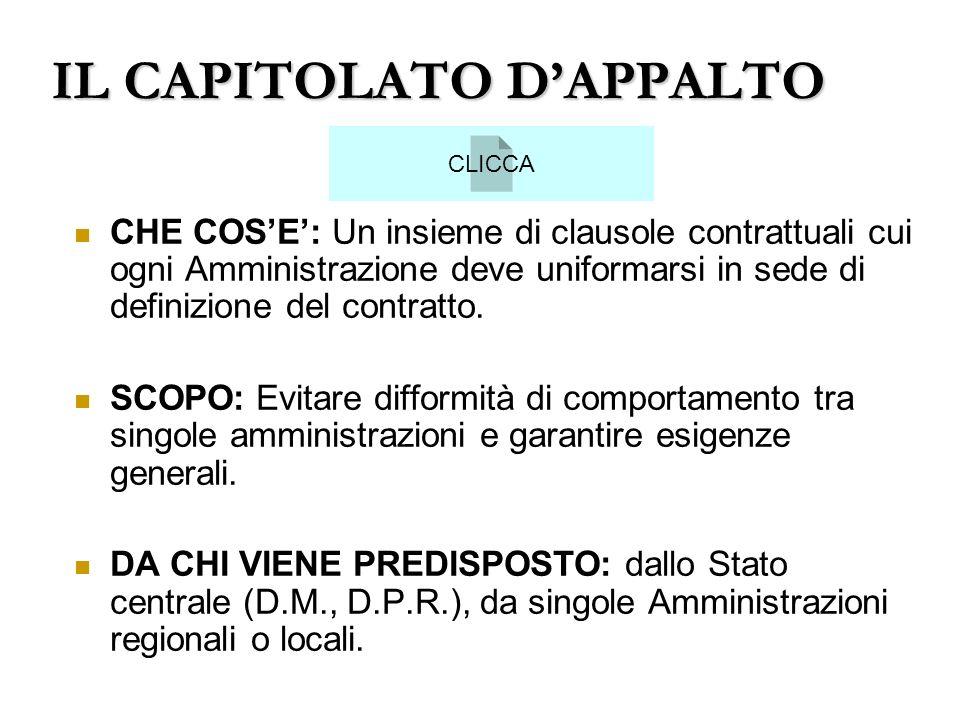 IL CAPITOLATO D'APPALTO
