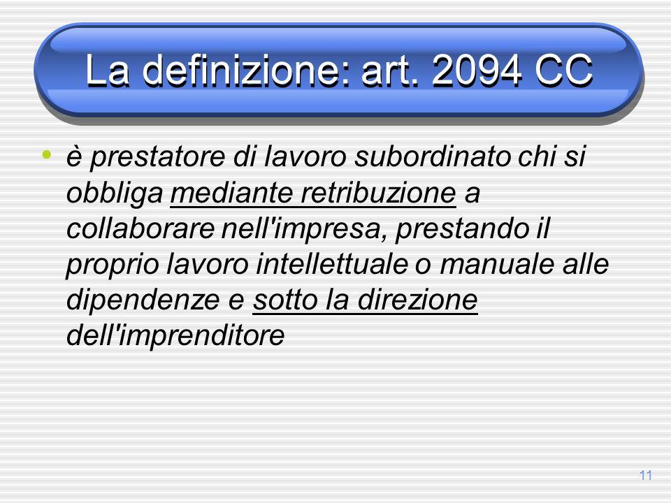 La definizione: art. 2094 CC