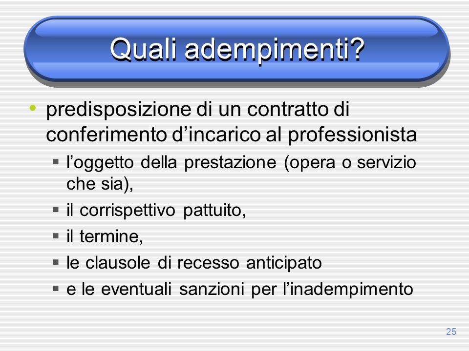 Quali adempimenti predisposizione di un contratto di conferimento d'incarico al professionista.