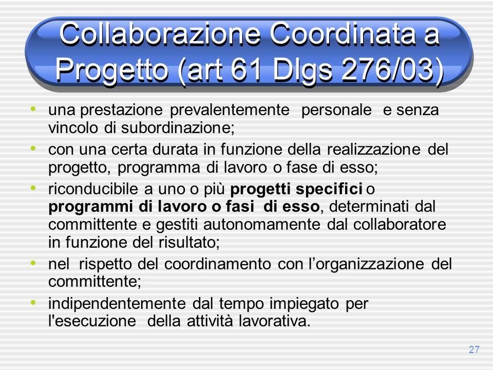 Collaborazione Coordinata a Progetto (art 61 Dlgs 276/03)