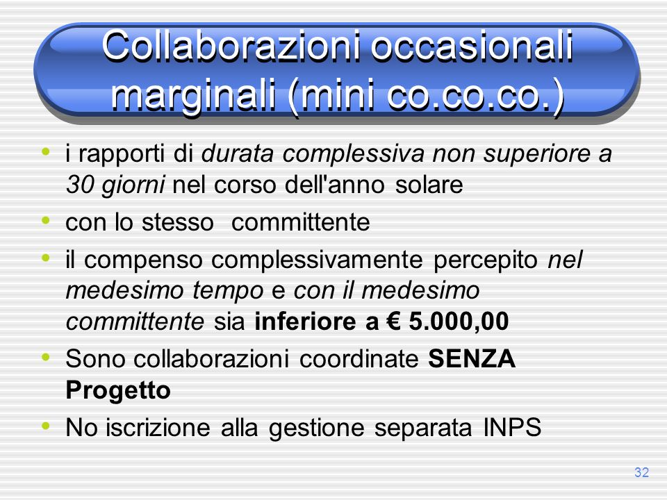 Collaborazioni occasionali marginali (mini co.co.co.)