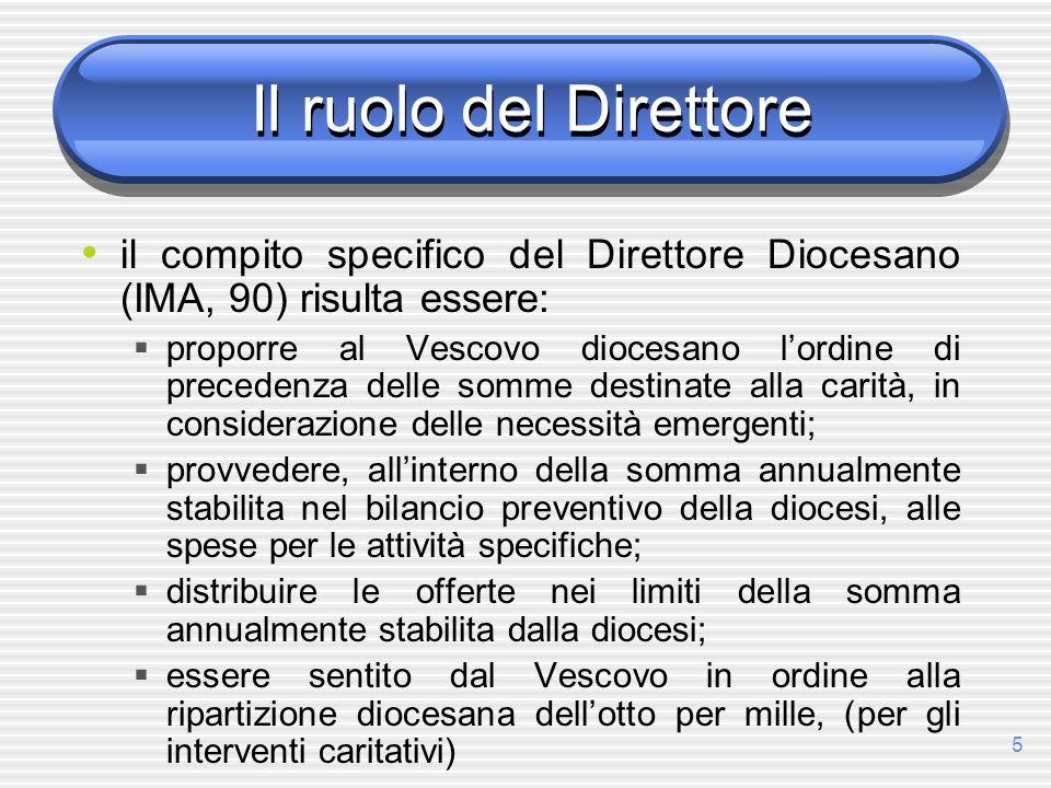 Il ruolo del Direttore il compito specifico del Direttore Diocesano (IMA, 90) risulta essere: