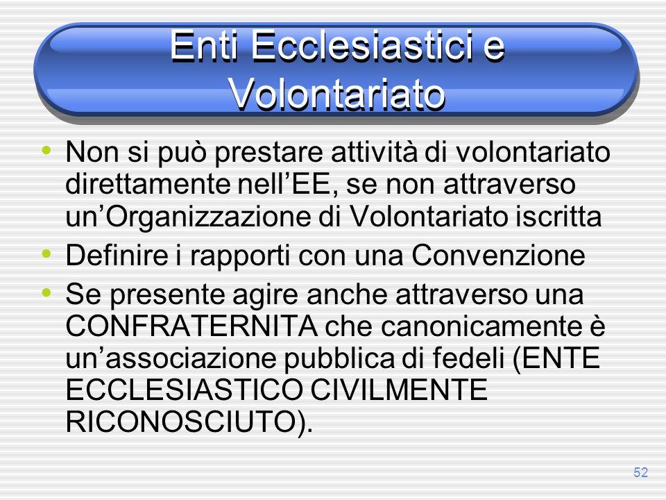 Enti Ecclesiastici e Volontariato
