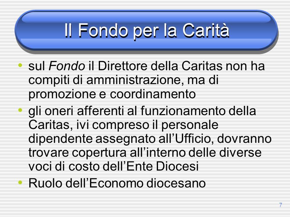 Il Fondo per la Carità sul Fondo il Direttore della Caritas non ha compiti di amministrazione, ma di promozione e coordinamento.