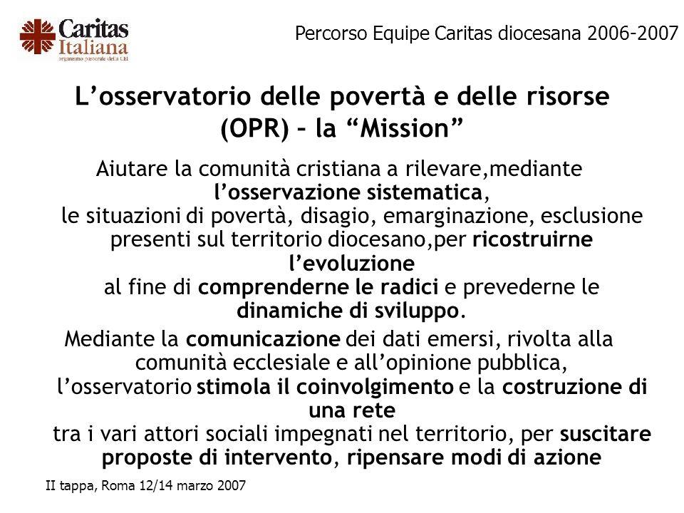 L'osservatorio delle povertà e delle risorse (OPR) – la Mission