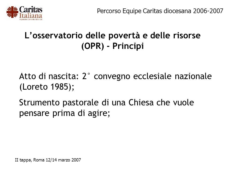 L'osservatorio delle povertà e delle risorse (OPR) - Principi