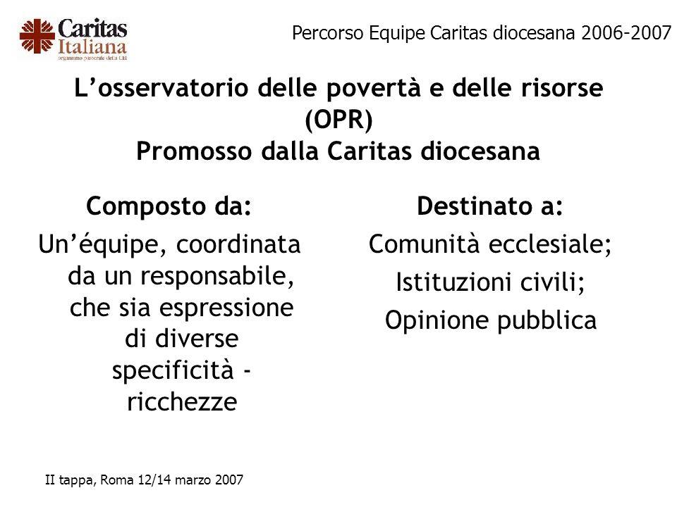 L'osservatorio delle povertà e delle risorse (OPR) Promosso dalla Caritas diocesana