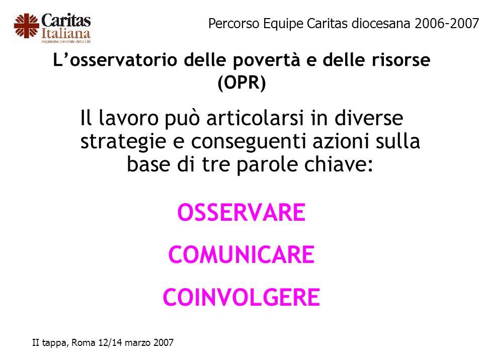 L'osservatorio delle povertà e delle risorse (OPR)