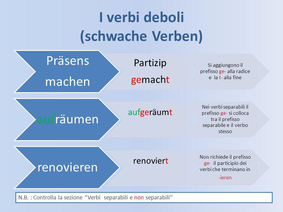 I verbi deboli (schwache Verben)