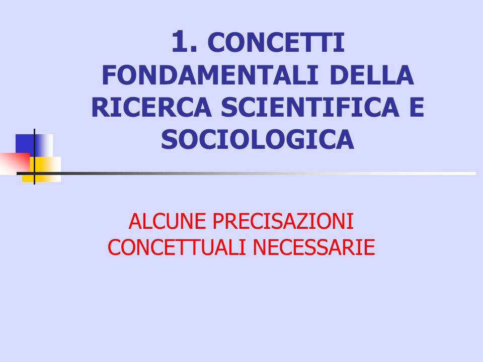 1. CONCETTI FONDAMENTALI DELLA RICERCA SCIENTIFICA E SOCIOLOGICA