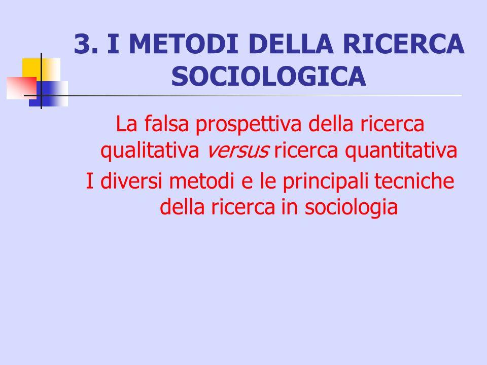3. I METODI DELLA RICERCA SOCIOLOGICA