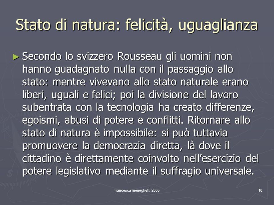 Stato di natura: felicità, uguaglianza