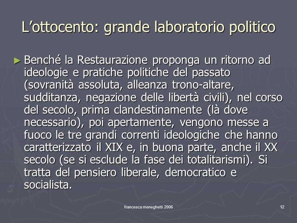 L'ottocento: grande laboratorio politico