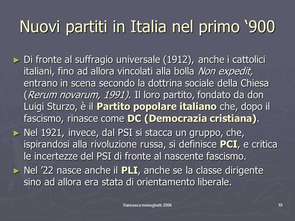 Nuovi partiti in Italia nel primo '900