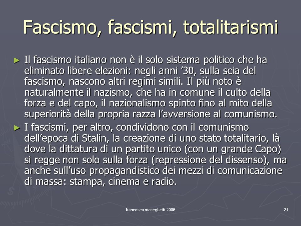 Fascismo, fascismi, totalitarismi
