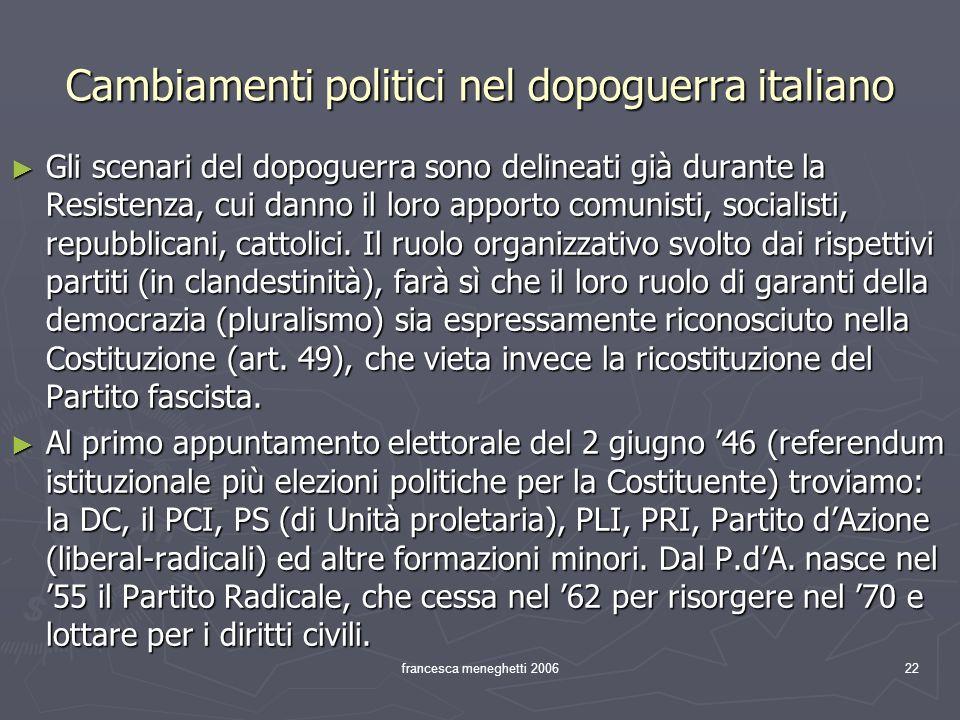 Cambiamenti politici nel dopoguerra italiano