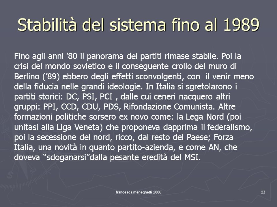 Stabilità del sistema fino al 1989