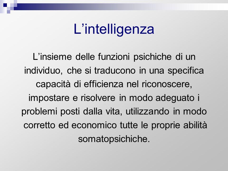 L'intelligenza L'insieme delle funzioni psichiche di un