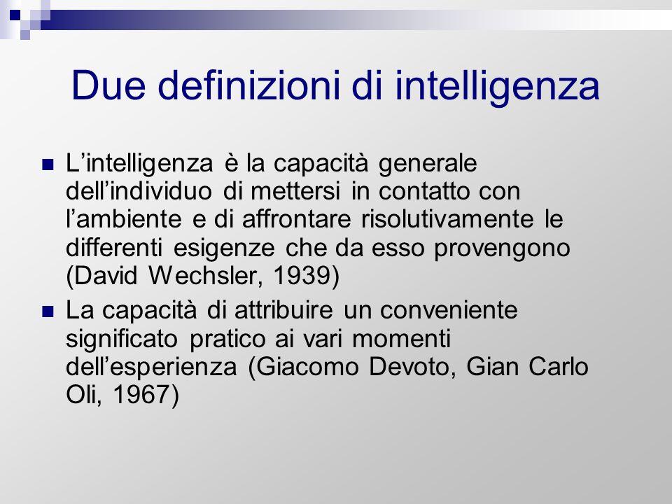 Due definizioni di intelligenza