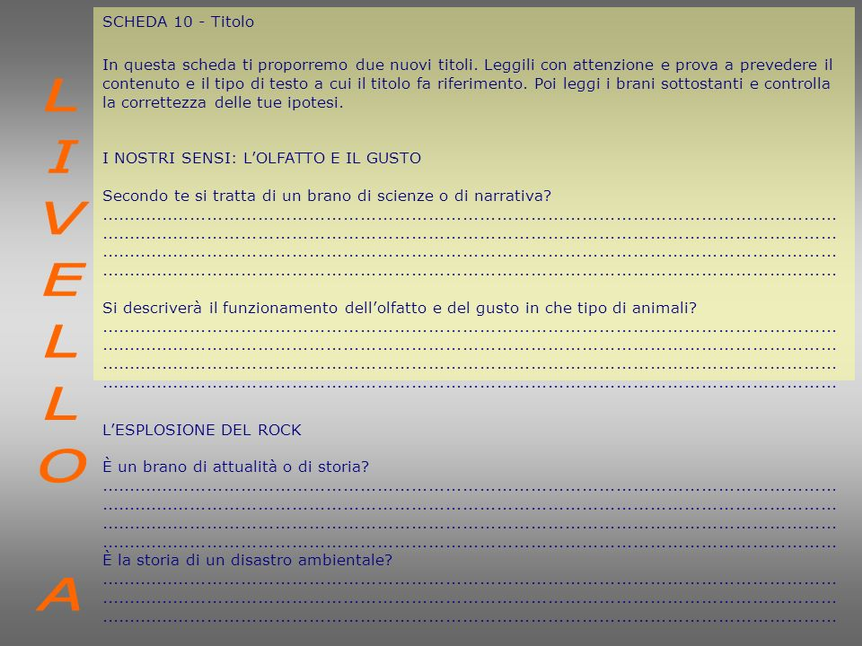 LIVELLO A SCHEDA 10 - Titolo