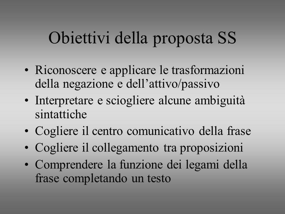 Obiettivi della proposta SS
