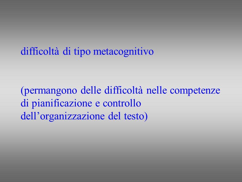 difficoltà di tipo metacognitivo (permangono delle difficoltà nelle competenze di pianificazione e controllo dell'organizzazione del testo)
