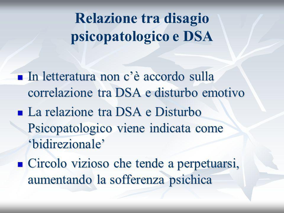 Relazione tra disagio psicopatologico e DSA