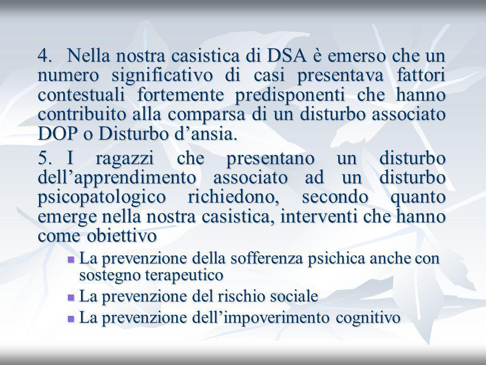 4. Nella nostra casistica di DSA è emerso che un numero significativo di casi presentava fattori contestuali fortemente predisponenti che hanno contribuito alla comparsa di un disturbo associato DOP o Disturbo d'ansia.