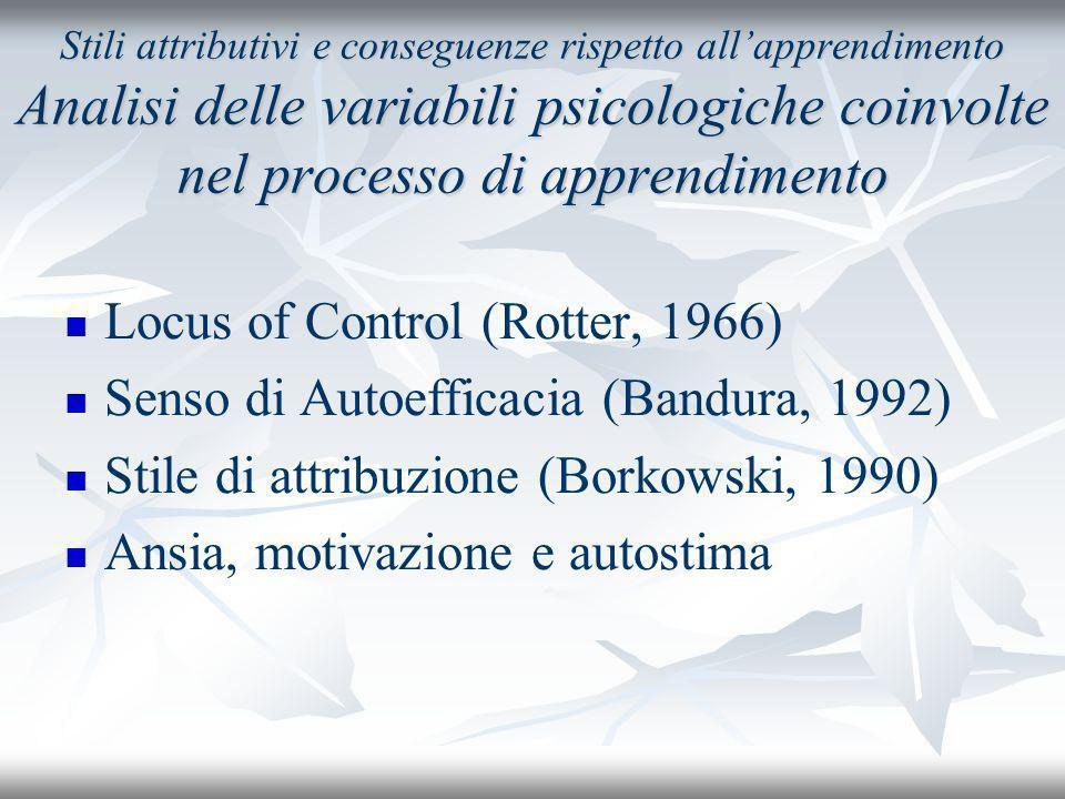 Locus of Control (Rotter, 1966) Senso di Autoefficacia (Bandura, 1992)