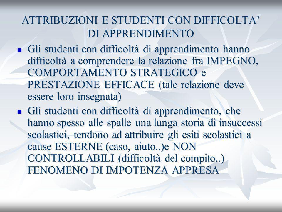 ATTRIBUZIONI E STUDENTI CON DIFFICOLTA' DI APPRENDIMENTO
