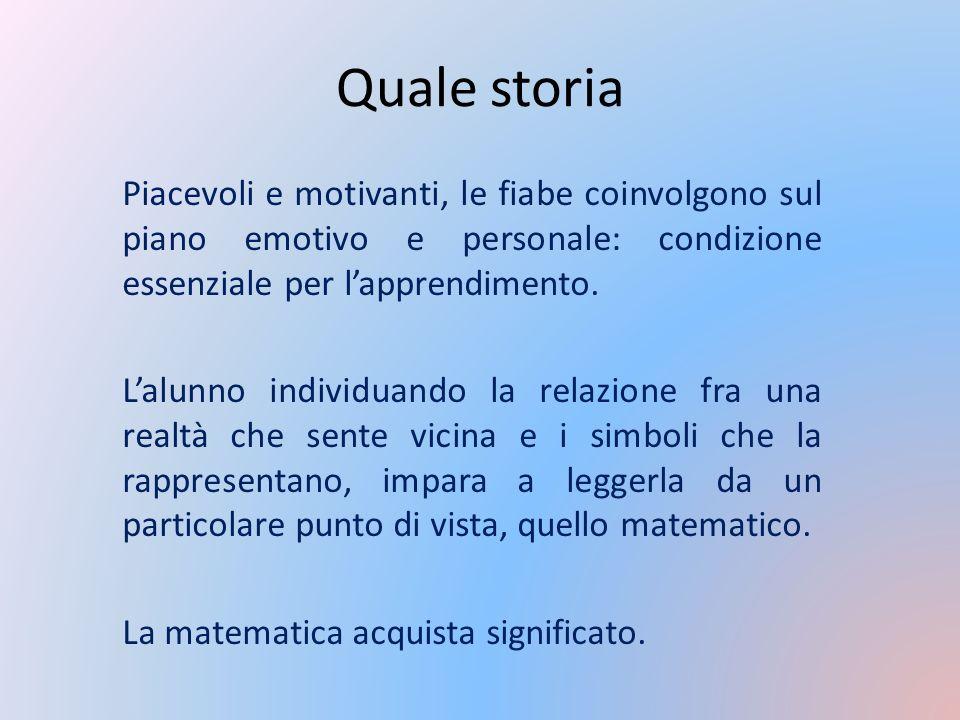 Quale storia Piacevoli e motivanti, le fiabe coinvolgono sul piano emotivo e personale: condizione essenziale per l'apprendimento.