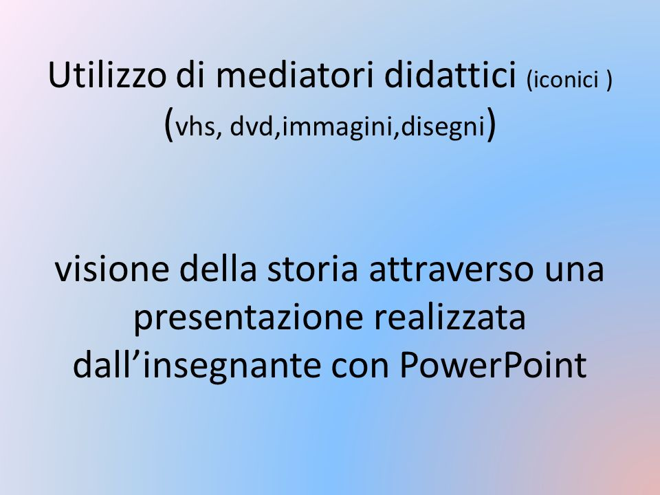 Utilizzo di mediatori didattici (iconici ) (vhs, dvd,immagini,disegni) visione della storia attraverso una presentazione realizzata dall'insegnante con PowerPoint