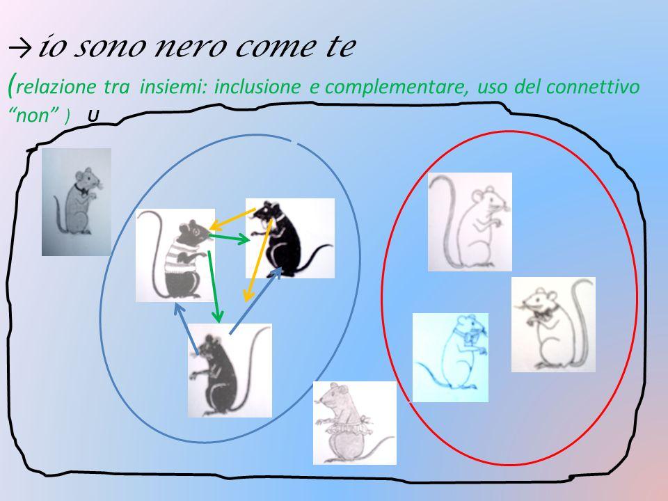 →io sono nero come te (relazione tra insiemi: inclusione e complementare, uso del connettivo non ) U