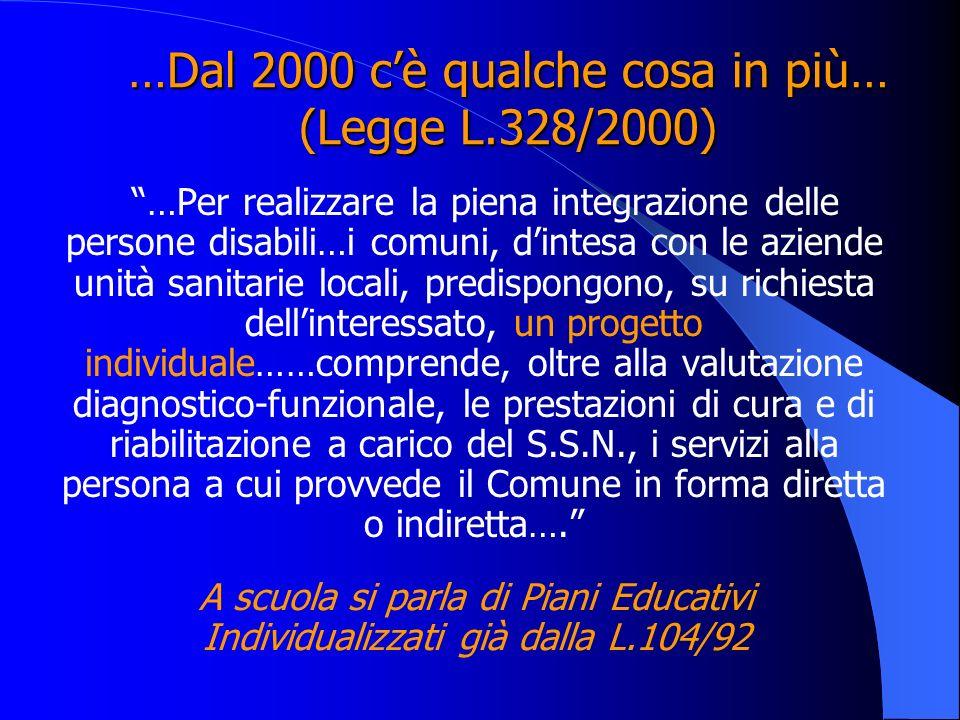 …Dal 2000 c'è qualche cosa in più… (Legge L.328/2000)