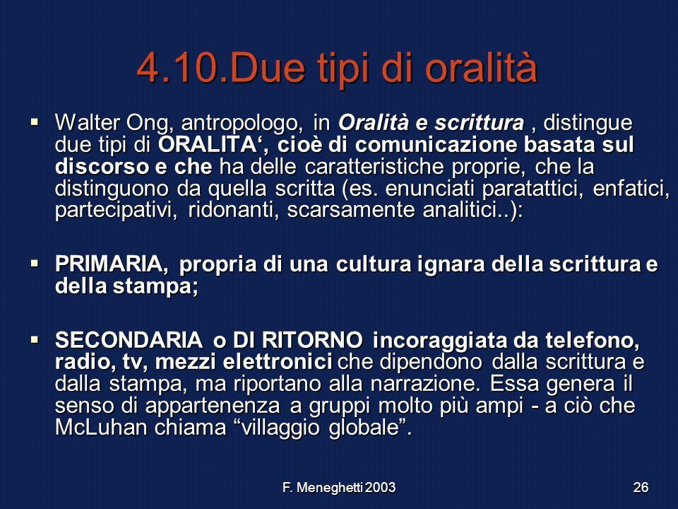 4.10.Due tipi di oralità