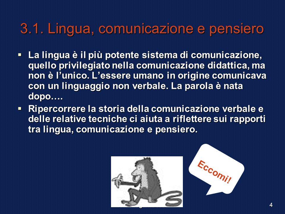 3.1. Lingua, comunicazione e pensiero