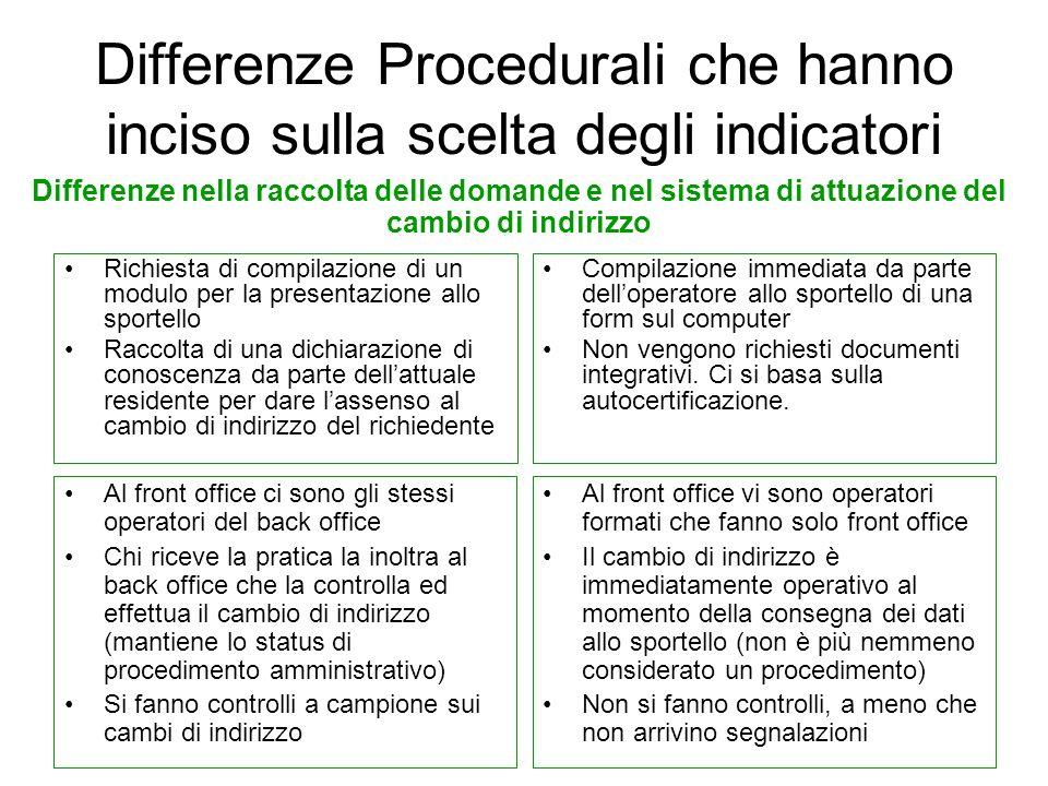 Differenze Procedurali che hanno inciso sulla scelta degli indicatori