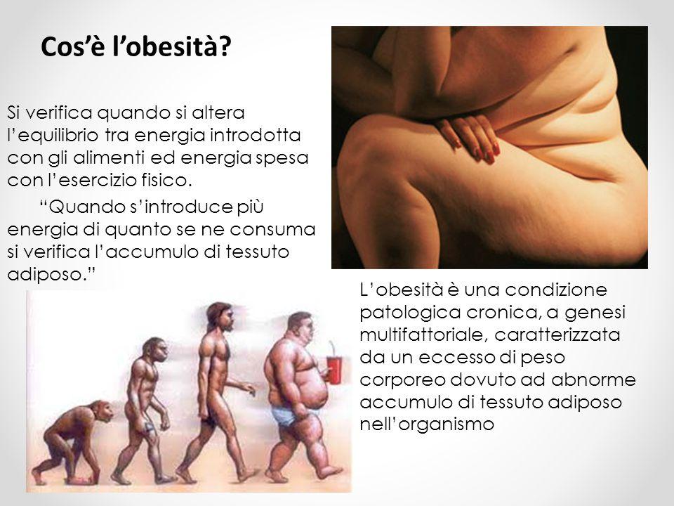 Cos'è l'obesità Si verifica quando si altera l'equilibrio tra energia introdotta con gli alimenti ed energia spesa con l'esercizio fisico.