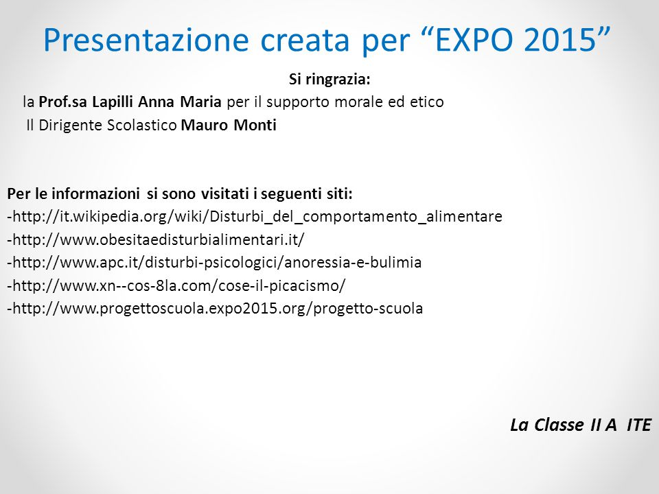 Presentazione creata per EXPO 2015