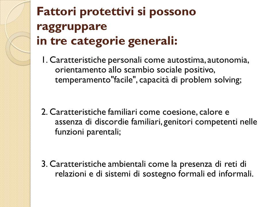 Fattori protettivi si possono raggruppare in tre categorie generali: