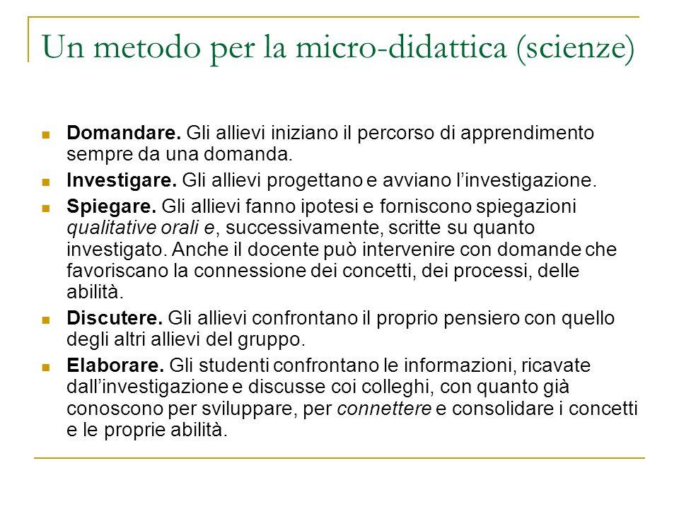 Un metodo per la micro-didattica (scienze)