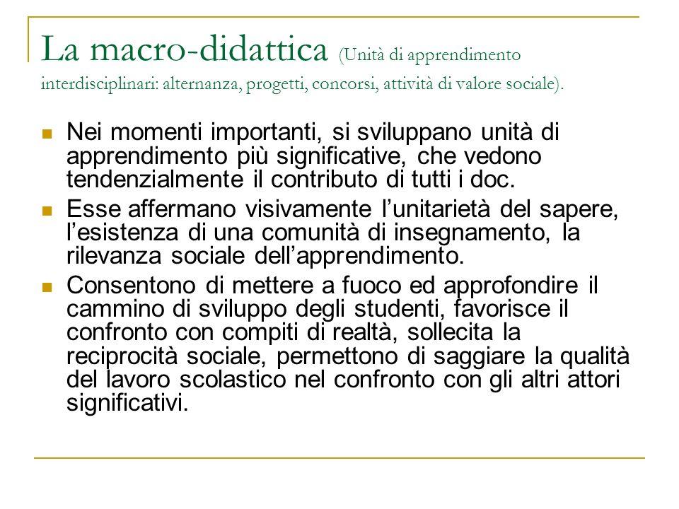 La macro-didattica (Unità di apprendimento interdisciplinari: alternanza, progetti, concorsi, attività di valore sociale).