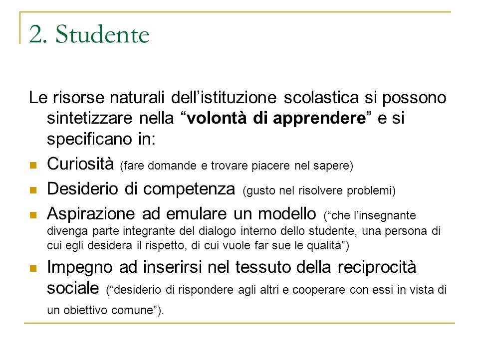 2. Studente Le risorse naturali dell'istituzione scolastica si possono sintetizzare nella volontà di apprendere e si specificano in: