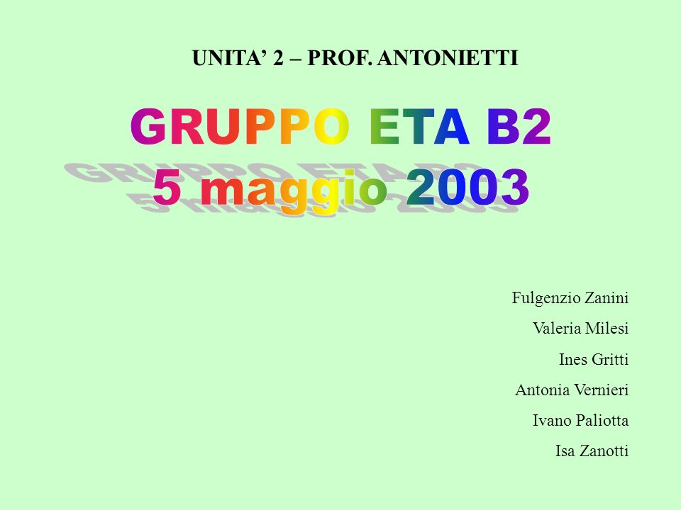 UNITA' 2 – PROF. ANTONIETTI