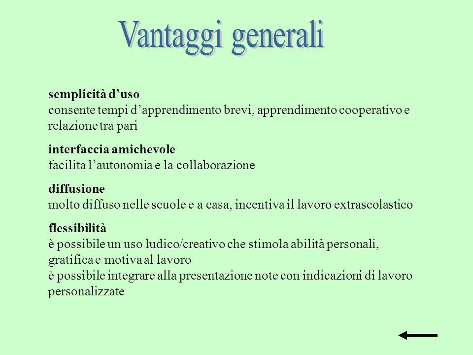 Vantaggi generali semplicità d'uso consente tempi d'apprendimento brevi, apprendimento cooperativo e relazione tra pari.