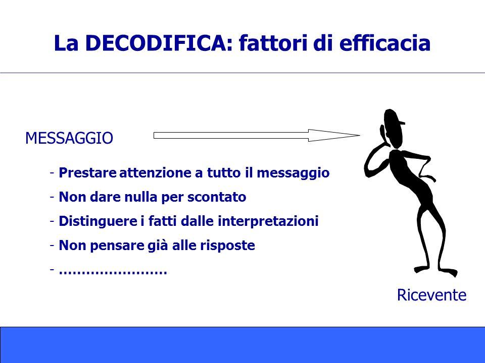 La DECODIFICA: fattori di efficacia