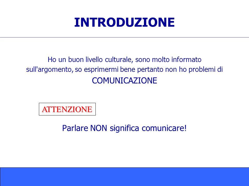 INTRODUZIONE COMUNICAZIONE Parlare NON significa comunicare!