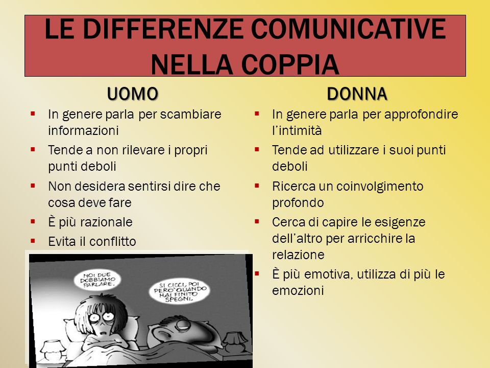 LE DIFFERENZE COMUNICATIVE NELLA COPPIA